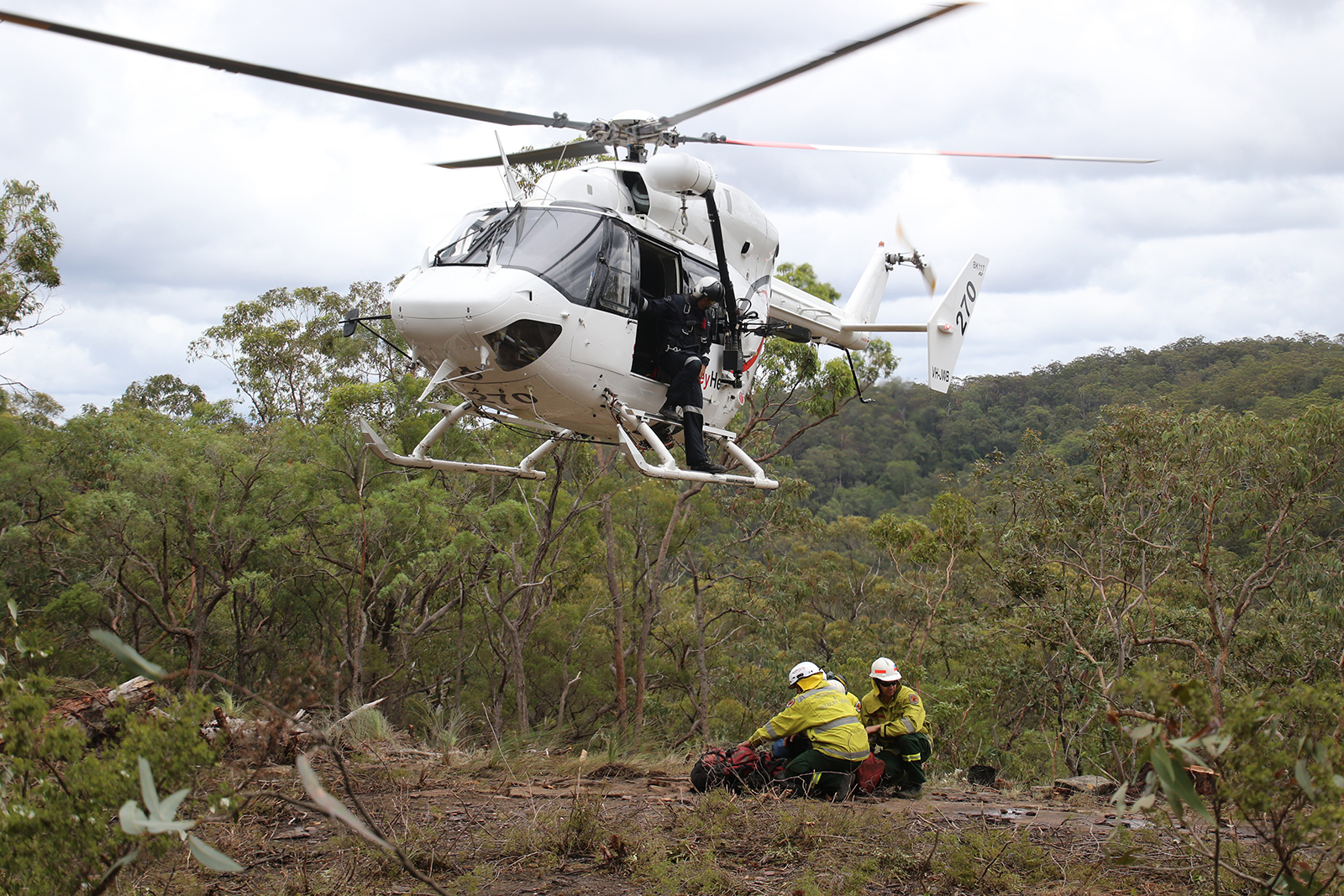 Remote crews helicoptered into Yengo National Park. Photo: David Croft/OEH