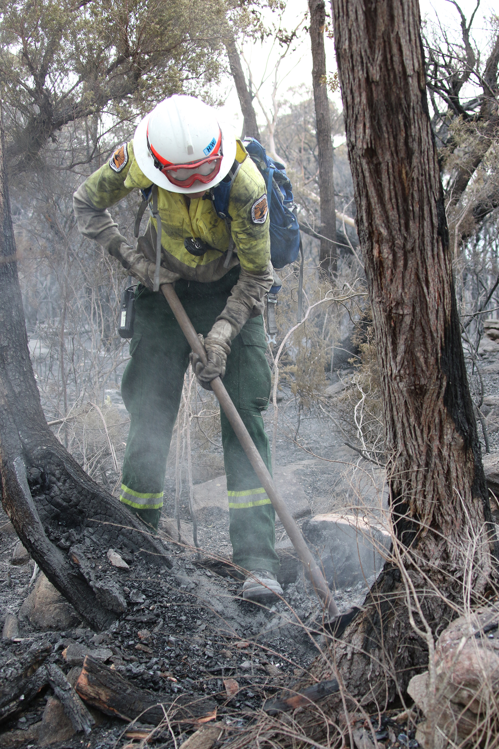 NPWS firefighter using a rake hoe. Photo: David Croft/OEH
