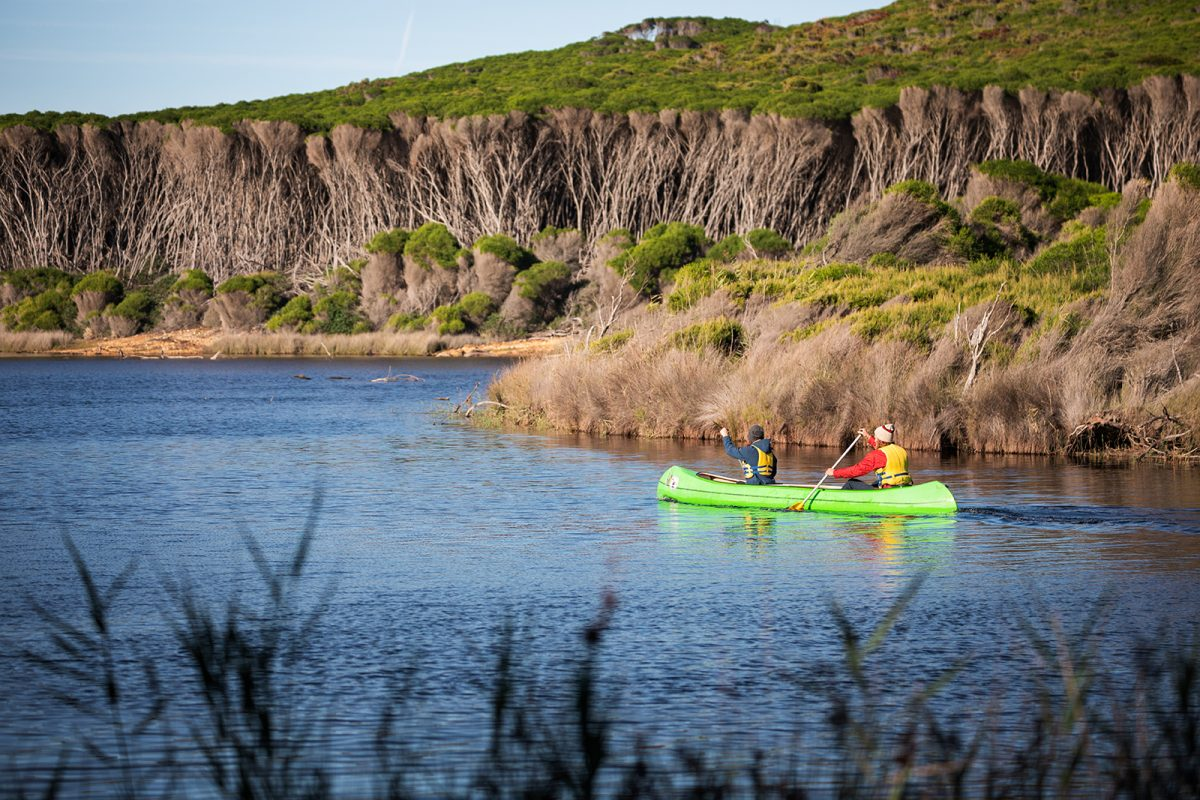 Two people canoeing in the lagoon at Hobart beach, Bournda National Park