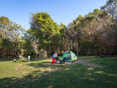 A couple sitting in camp chairs in front of their tent in Hobart Beach campground, Bournda National Park. Photo: Daniel Tran/DPIE