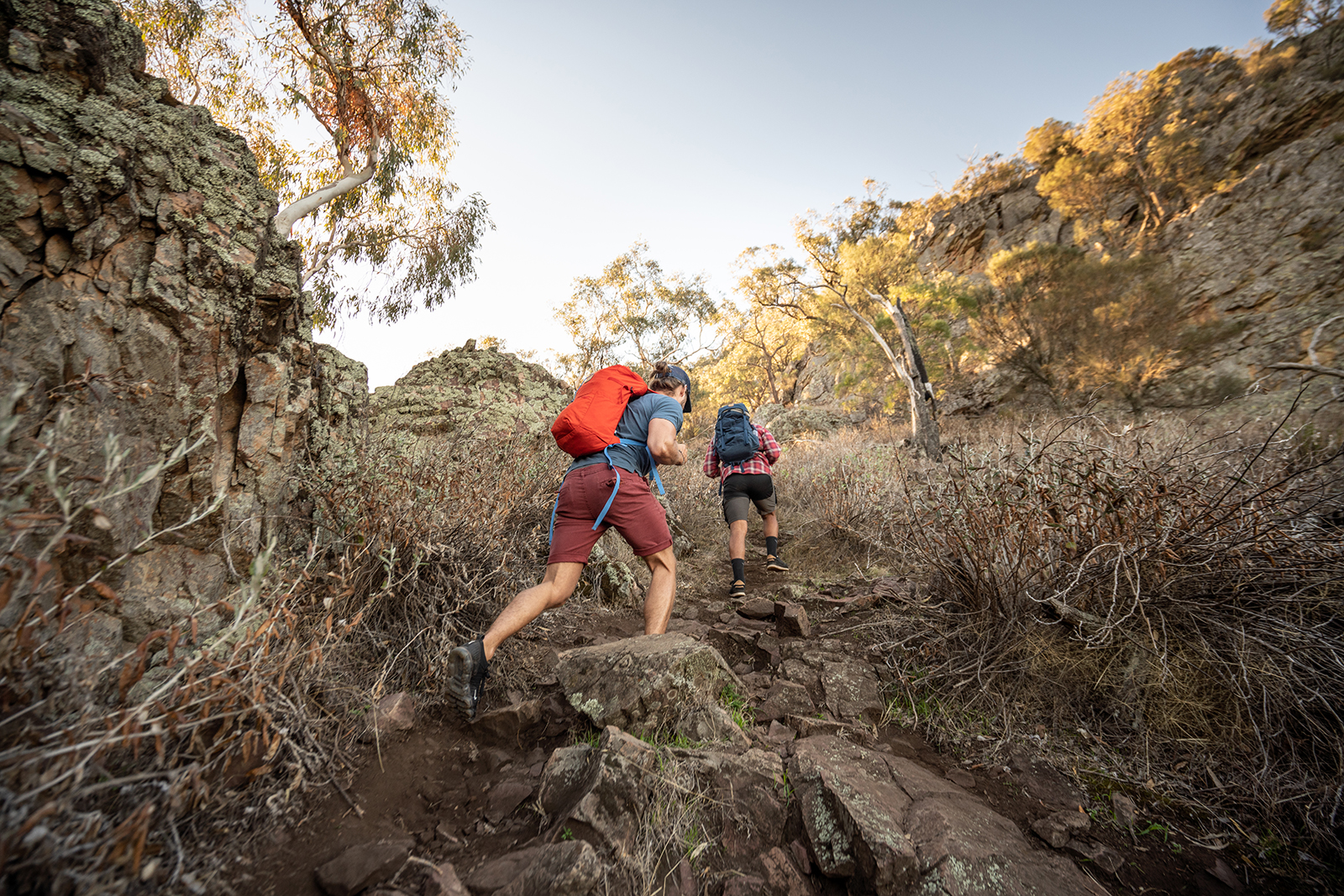Two people hiking up the Yerong walking track, The Rock Nature Reserve - Kengal Aboriginal Place. Photo: Rob Mulally/DPIE