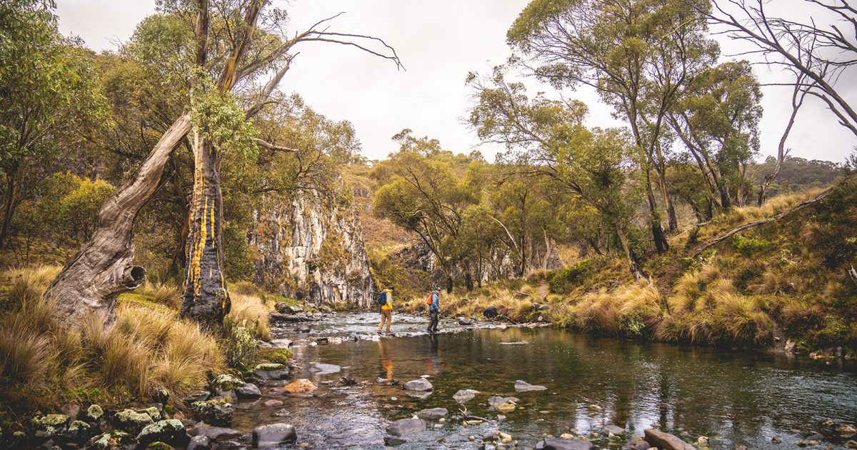 Two guys crossing the Clarke Gorge