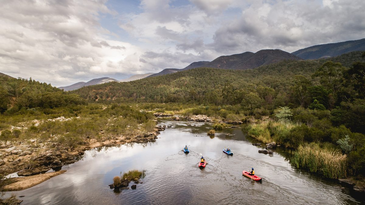 Aerial view of four people kayaking on the Snowy River, Kosciuszko National Park