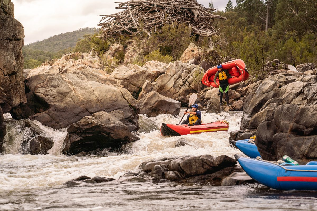 People kayaking in the Snowy River, Kosciuszko National Park. Photo: Rob Mulally/DPIE