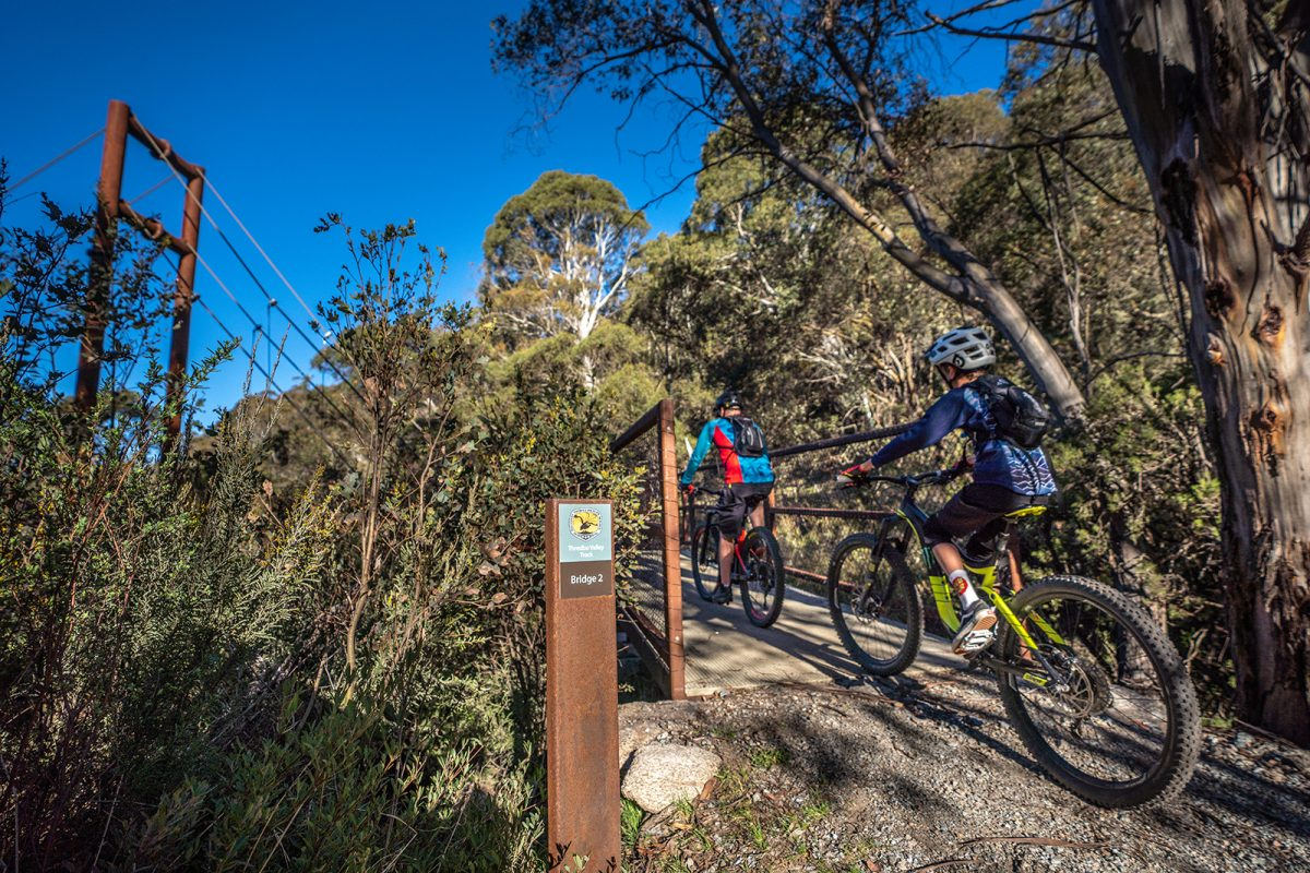 Two people riding on the Thredbo Valley track, Thredbo-Perisher area in Kosciuszko National Park. Photo: Rob Mulally/DPIE