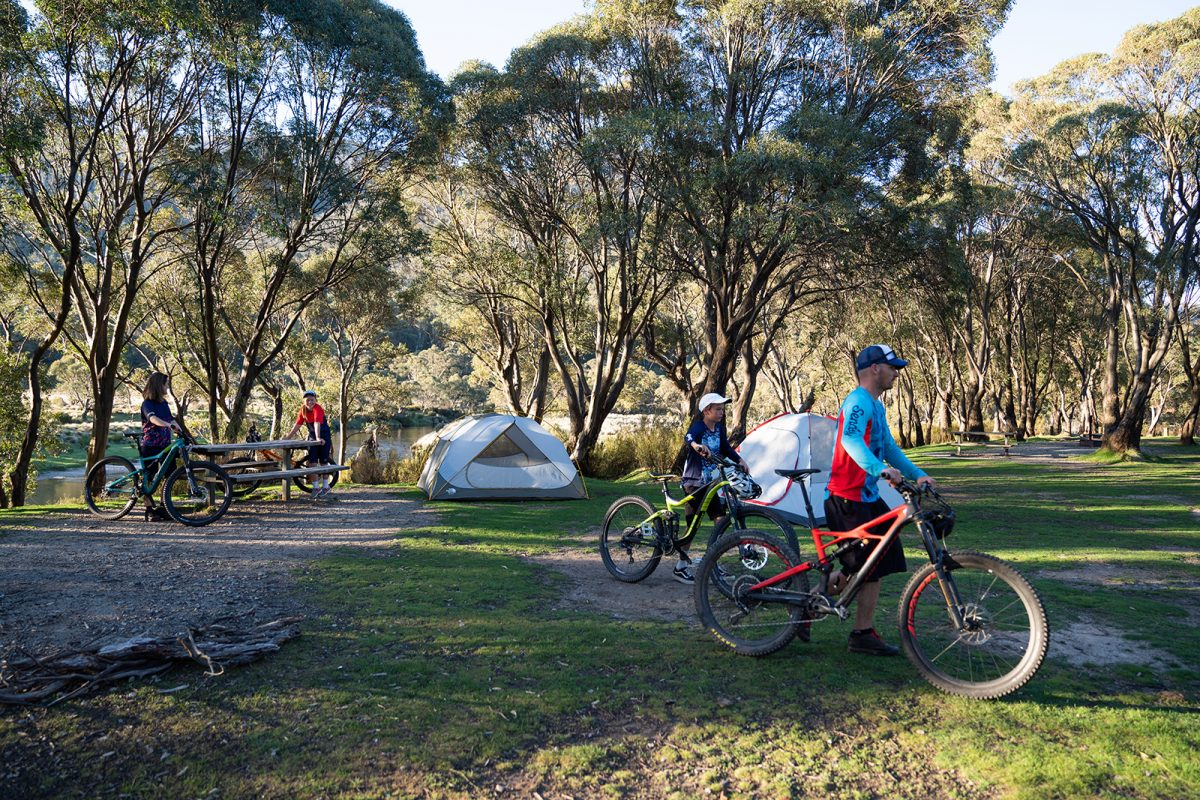 A family of four camping in Thredbo Diggings campground