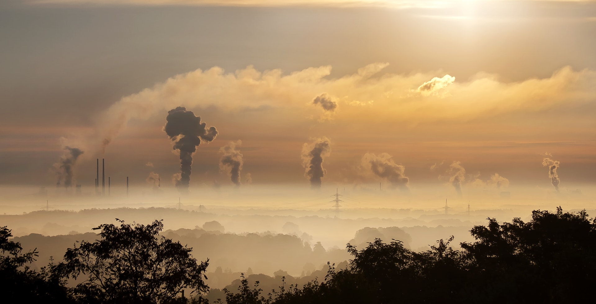 Aerial of air pollution from factories