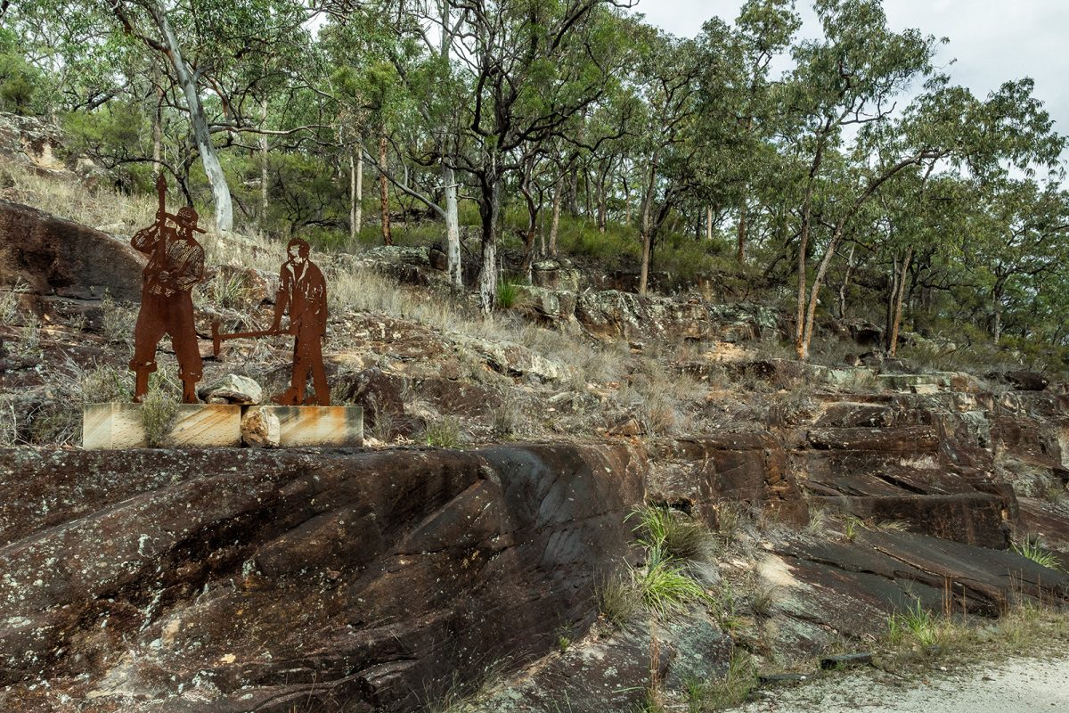 Corten silhouettes in Quarry Devines Hill, Dharug NP