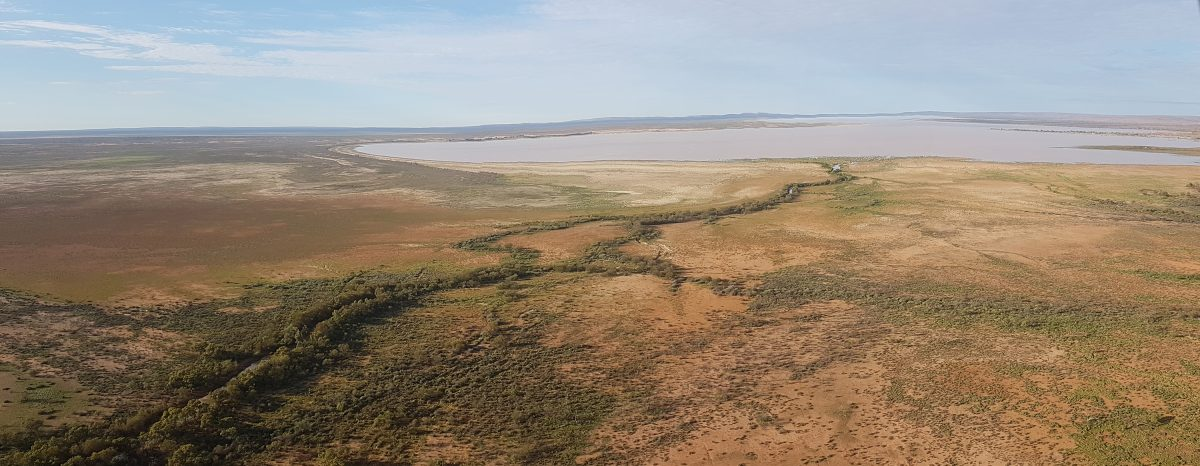 Aerial view of Peery Lake filled with water in Paroo-Darling National Park